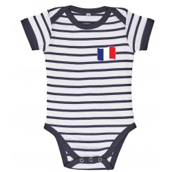 France stripe baby bodysuit